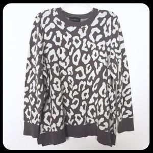 Lane Bryant Grey Leopard Print Crewneck Sweater
